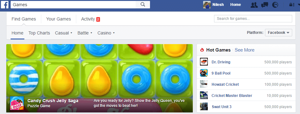 play Game in facebook