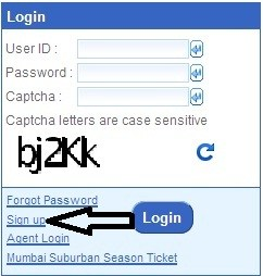 IRCTC Signup page in Hindi
