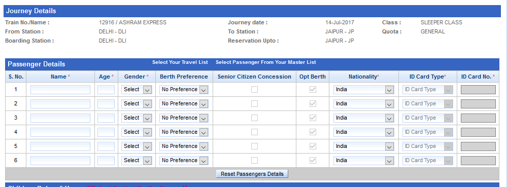 irctc passenger details in hindi