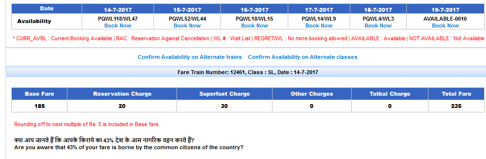 train seat availability Hindi